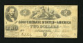 Confederate Notes:1862 Issues, T42 $2 1862. This $2 has healthy edges and a small hole at center.Judah P. Benjamin was a Yale graduate, class of 1828. F...