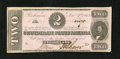 Confederate Notes:1862 Issues, T54 $2 1862. A couple of minor corner folds and a small moisturespot in the lower left-hand corner are noticed. About Unc...
