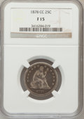 Seated Quarters: , 1878-CC 25C Fine 15 NGC. NGC Census: (2/225). PCGS Population (8/266). Mintage: 996,000. Numismedia Wsl. Price for problem ...