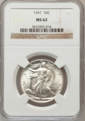 Walking Liberty Half Dollars: , 1947 50C MS62 NGC. NGC Census: (124/6291). PCGS Population(195/9959). Mintage: 4,094,000. Numismedia Wsl. Price for proble...