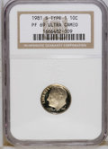Proof Roosevelt Dimes: , 1981-S 10C Type One PR69 Deep Cameo NGC. NGC Census: (452/9). PCGSPopulation (4938/83). Numismedia Wsl. Price: $17. (#952...