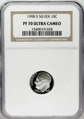 Proof Roosevelt Dimes: , 1998-S 10C Silver PR70 Deep Cameo NGC. NGC Census: (229/0). PCGSPopulation (47/0). Numismedia Wsl. Price: $80. (#95287)...
