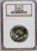 Kennedy Half Dollars: , 1974-D 50C MS66 NGC. NGC Census: (57/2). PCGS Population (150/24).Mintage: 79,066,304. (#6723)...