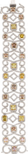 Estate Jewelry:Bracelets, Fancy Yellow Diamond, Diamond, Gold Bracelet. ...