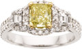 Estate Jewelry:Rings, Fancy Intense Yellow Diamond, Diamond, Gold Ring. ...