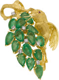 Estate Jewelry:Brooches - Pins, Emerald, Diamond, Gold Pendant-Brooch. ...