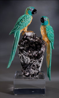 AMAZONITE MACAWS ON AN ALBITE AND TOURMALINE BASE