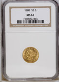 Liberty Quarter Eagles: , 1888 $2 1/2 MS61 NGC. NGC Census: (47/238). PCGS Population(30/190). Mintage: 16,098. Numismedia Wsl. Price: $400. (#7840)...