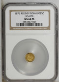 California Fractional Gold: , 1876 25C Indian Round 25 Cents, BG-879, R.4, MS64 Prooflike NGC.PCGS Population (25/11). (#10740)...
