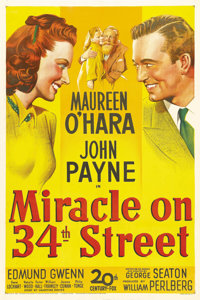 "Miracle on 34th Street (20th Century Fox, 1947). One Sheet (27"" X 41""). 20th Century Fox studio head Darryl F..."