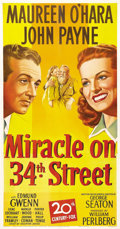 "Movie Posters:Comedy, Miracle on 34th Street (20th Century Fox, 1947). Three Sheet (41"" X 81""). Darryl F. Zanuck had so little faith in this now-p..."