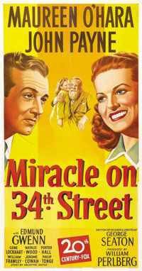 "Miracle on 34th Street (20th Century Fox, 1947). Three Sheet (41"" X 81""). Darryl F. Zanuck had so little faith..."