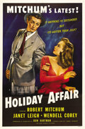 "Movie Posters:Comedy, Holiday Affair (RKO, 1949). One Sheet (27"" X 41""). This Christmasfavorite was not well received when it was released. Janet..."