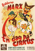"Movie Posters:Comedy, At the Circus (MGM, 1939). Swedish One Sheet (27"" X 39""). Hollywood's golden year of 1939 found the Marx Brothers ""At the Ci..."