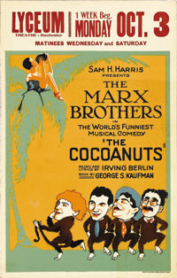 """The Cocoanuts (Lyceum Theater, 1927). Window Card (14"""" X 22""""). Before the advent of sound films in the late 19..."""