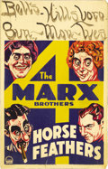 "Movie Posters:Comedy, Horse Feathers (Paramount, 1932). Window Card (14"" X 22""). This was the fourth film for the Marx Brothers and the story revo..."