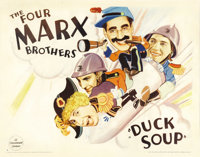 "Duck Soup (Paramount, 1933). Half Sheet (22"" X 28"") Style B. Groucho Marx as Rufus T. Firefly is named the dic..."