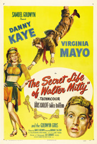"""The Secret Life of Walter Mitty (RKO, 1947). One Sheet (27"""" X 41""""). James Thurber wasn't too happy with the Sa..."""