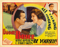 "Be Yourself (United Artists, 1930). Half Sheet (22"" X 28""). Fanny Brice stars as the long-suffering girlfriend..."