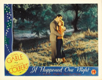 "It Happened One Night (Columbia, 1934). Lobby Card (11"" X 14""). Beautiful shot of Clark Gable and Claudette Co..."
