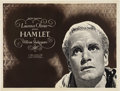"""Movie Posters:Drama, Hamlet (Universal, R-1950s). British Quad (30"""" X 40""""). LaurenceOlivier became the first person to direct himself to a Best ..."""