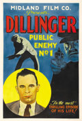 """Movie Posters:Documentary, Dillinger: Public Enemy No.1 (Midland Film Co., 1934). One Sheet (27"""" X 41""""). Propagandic newsreel commissioned by J. Edgar ..."""