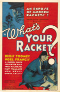 "Movie Posters:Crime, What's Your Racket? (Mayfair Pictures, 1934). One Sheet (27"" X41""). This is a superb early 30s stone litho poster for this ..."