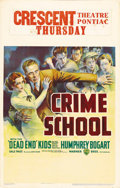 "Movie Posters:Crime, Crime School (Warner Brothers, 1938). Window Card (14"" X 22"").Humphrey Bogart is the good guy in this classic Warners gangs..."