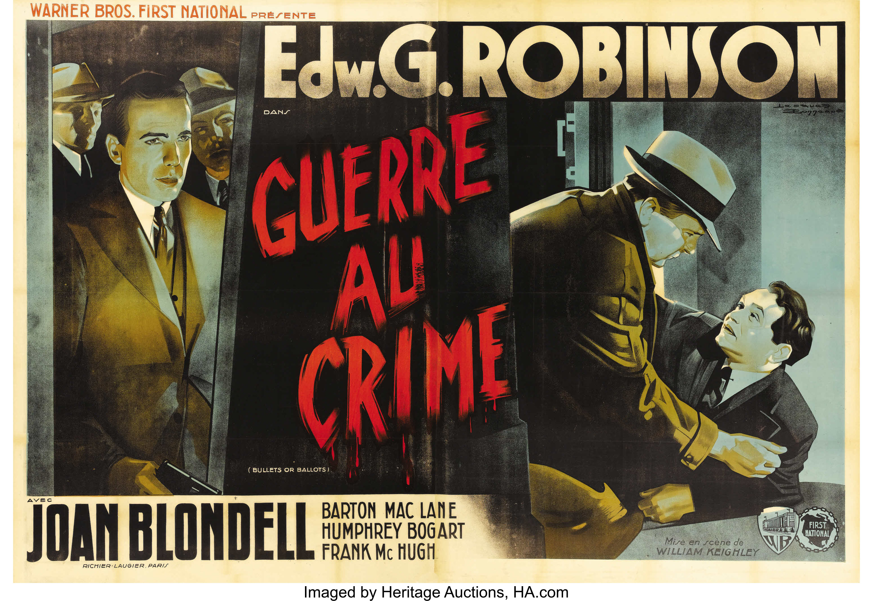 Bullets Or Ballots Warner Brothers 1936 French 4 Panel 63 X Lot 28118 Heritage Auctions