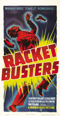"Movie Posters:Crime, Racket Busters (Warner Brothers, 1938). Three Sheet (41"" X 81""). When the headlines in New York City screamed that the mob w..."