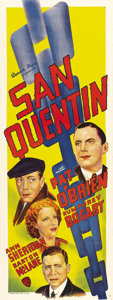 "Movie Posters:Drama, San Quentin (Warner Brothers, 1937). Australian Daybill (15"" X40""). Humphrey Bogart must have felt he was being sent ""up th..."