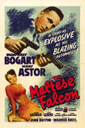 "Movie Posters:Crime, The Maltese Falcon (Warner Brothers, 1941). One Sheet (27"" X 41"").John Huston, a writer with Warner Brothers, made his dire..."