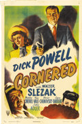 "Movie Posters:Film Noir, Cornered (RKO, 1946). One Sheet (27"" X 41""). Edward Dmytryk directs this post WWII film noir tale of Canadian pilot Laur..."