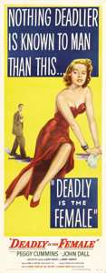 "Movie Posters:Film Noir, Deadly is the Female (United Artists, 1949). Insert (14"" X 36"").Before the film was actually released as ""Gun Crazy,"" poste..."