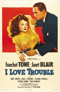 "I Love Trouble (Columbia, 1948). One Sheet (27"" X 41""). Great image of private detective Franchot Tone and fem..."