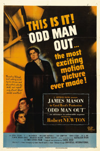 """Odd Man Out (Universal International, 1947). One Sheet (27"""" X 41""""). James Mason stars in this thriller as a po..."""