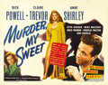 """Movie Posters:Film Noir, Murder My Sweet (RKO, 1944). Half Sheet (22"""" X 28"""") Style B. Beforethis film, Powell starred in many of the early Warner Br..."""