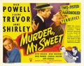 "Movie Posters:Film Noir, Murder My Sweet (RKO, 1944). Title Lobby Card (11"" X 14""). In thishard-boiled film noir classic, 1930s song-and-dance-m..."