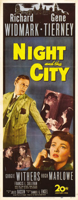 "Night and the City (20th Century Fox, 1950). Insert (14"" X 36""). Two-bit con man and hustler Harry Fabian (Ric..."