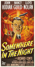 "Movie Posters:Film Noir, Somewhere in the Night (20th Century Fox, 1946). Three Sheet (41"" X81""). John Hodiak stars in the prototypical war-veteran-..."
