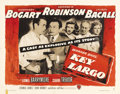 "Movie Posters:Film Noir, Key Largo (Warner Brothers, 1948). Half Sheet (22"" X 28"") Style B.Humphrey Bogart and Lauren Bacall headline an all-star ca..."
