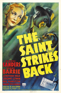 "The Saint Strikes Back (RKO, 1939). One Sheet (27"" X 41""). George Sanders stars for the first time as Simon Te..."