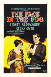 """The Face in the Fog (Paramount, 1922). One Sheet (27"""" X 41""""). Lionel Barrymore stars as Jack Boyle's famous cr..."""