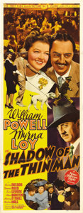 "Movie Posters:Mystery, Shadow of the Thin Man (MGM, 1941). Insert (14"" X 36""). William Powell and Myrna Loy reprise their roles as Nick and Nora Ch..."