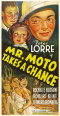 "Movie Posters:Mystery, Mr. Moto Takes a Chance (20th Century Fox, 1938). Three Sheet (41""X 81""). 20th Century Fox struck gold with their Charlie C..."