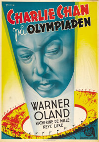 "Charlie Chan at the Olympics (20th Century Fox, 1937). Swedish One Sheet (27.5"" X 39.5""). Fantastic art deco g..."