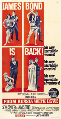 """From Russia With Love (United Artists, 1963). Australian Three Sheet (39.75"""" X 80.75""""). Sean Connery stars as..."""