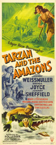 "Movie Posters:Adventure, Tarzan and the Amazons (RKO, 1945). Insert (14"" X 36""). JohnnyWeissmuller returns to the screen as Tarzan, Lord of the Apes..."