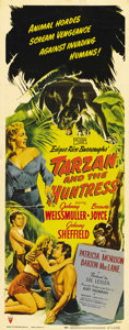 "Movie Posters:Adventure, Tarzan and the Huntress (RKO, 1947). Insert (14"" X 36""). One of themost popular of the later RKO Tarzan series' with Weissm..."