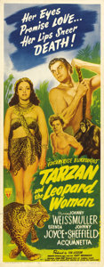 "Movie Posters:Adventure, Tarzan and the Leopard Woman (RKO, 1946). Insert (14"" X 36""). Inone of the best Tarzan adventures from RKO, Johnny Weissmul..."
